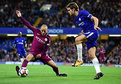 David Silva of Manchester City blocks Marcos Alonso of Chelsea pass. - Mandatory by-line: Alex James/JMP - 30/09/2017 - FOOTBALL - Stamford Bridge - London, England - Chelsea v Manchester City - Premier League
