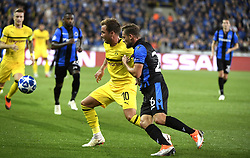 September 18, 2018 - Brugge, BELGIQUE - BRUGGE, BELGIUM - SEPTEMBER 18 : Mario Gotze midfielder of Borussia Dortmund and Mats Rits midfielder of Club Brugge  pictured during a  the UEFA Champions League Group A stage match between Club Brugge and Borussia Dortmund at the Jan Breydel stadium on September 18, 2018 in Brugge, Belgium , 18/09/2018 (Credit Image: © Panoramic via ZUMA Press)
