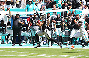 Sep 23, 2018; Miami Gardens, FL, USA; Oakland Raiders wide receiver Jordy Nelson (82) runs with the ball at Hard Rock Stadium between the Miami Dolphins and the Oakland Raiders. The Dolphins defeated the Raiders 28-20. (Steve Jacobson/Image of Sport)