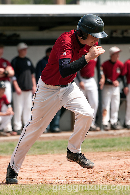 Dayton designated hitter Harley Bowlin runs to first during the 3A Oregon State Baseball Championships quarterfinals game against Vale on May 27, 2011 at Cammann Field, Vale, Oregon.<br /> <br /> Bowlin went 2 for 3 with a run in Dayton's loss to Vale 4-3.