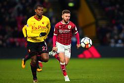 Matty Taylor of Bristol City takes on Christian Kabasele of Watford - Mandatory by-line: Robbie Stephenson/JMP - 06/01/2018 - FOOTBALL - Vicarage Road - Watford, England - Watford v Bristol City - Emirates FA Cup third round proper