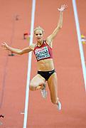 Mar 5, 2017; Belgrade, Serbia; Darya Klishina (RUS) places fourth in the women's long jump at 22-5¼ (6.84m) during the 34th European Indoor Championships at Kombank Arena. (Jiro Mochizuki/Image of Sport)