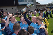 Riverside CSC captain Paul Cooney celebrates with the Sean Kelly Memorial Cup - Riverside CSC (light blue) v Hilltown Hotspurs (green) in the Dundee Saturday Morning Football League Shaun Kelly Memorial Cup Final at North end, Dundee, Photo: David Young<br /> <br />  - &copy; David Young - www.davidyoungphoto.co.uk - email: davidyoungphoto@gmail.com