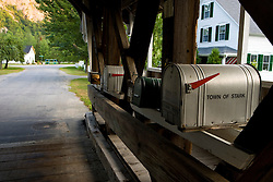 Mailboxes on the Stark Covered Bridge in Stark, New Hampshire.  Upper Ammonoosuc River.