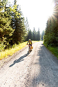 BC00653-00...MONTANA - Vicky Spring begins the climb on Foresr Road 115 to Red Meadows Pass along the Great Divide Mountain Bike Ride.