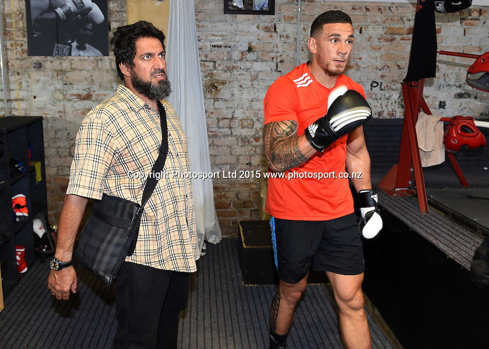 All Blacks player Sonny Bill Williams and agent Khoder Nasser during a boxing training session ahead of his boxing match in Sydney at the end of this month. Boxing Alley, Parnell, Auckland. New Zealand. Tuesday 20 January 2015. Copyright photo: Andrew Cornaga / www.photosport.co.nz