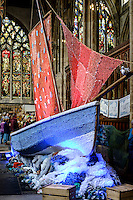 Holy Trinity Church, Hull, East Yorkshire, United Kingdom, 11 June, 2014. Pictured: Follow the Herring, A challenging collaborative theatre and visual arts tour to engage coastal communities in the arts through singing, performing and knitting.