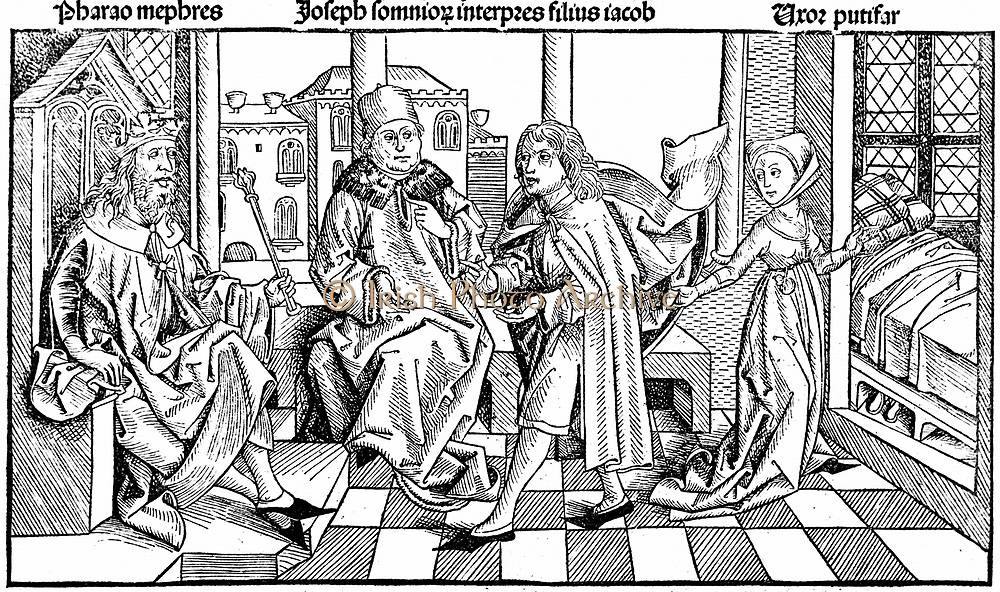 Joseph interpreting Pharaoh's dream as meaning there would be seven fat years  and seven lean years. Potiphar's wife inviting to bed, invitation which he refused, points to Joseph's integrity. One of 12 Hebrew Patriarchs.  Woodcut from Hartmann Schedel 'Liber chronicarum mundi' (Nuremberg Chronicle) Nuremberg 1493