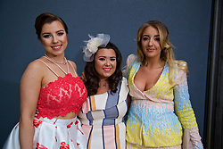 LIVERPOOL, ENGLAND - Thursday, April 6, 2017: Amy Campbell [L], 23 from West Derby, Natalya Peloe [C], 23 from Crosby, and Kate Mullen [R], 23 from Kensington during The Opening Day on Day One of the Aintree Grand National Festival 2017 at Aintree Racecourse. (Pic by David Rawcliffe/Propaganda)