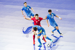 Milos Simic of Serbia and Dinmukhambet Suleimenov of Kazakhstan during futsal quarter-final match between National teams of Kazakhstan and Serbia at Day 7 of UEFA Futsal EURO 2018, on February 5, 2018 in Arena Stozice, Ljubljana, Slovenia. Photo by Urban Urbanc / Sportida