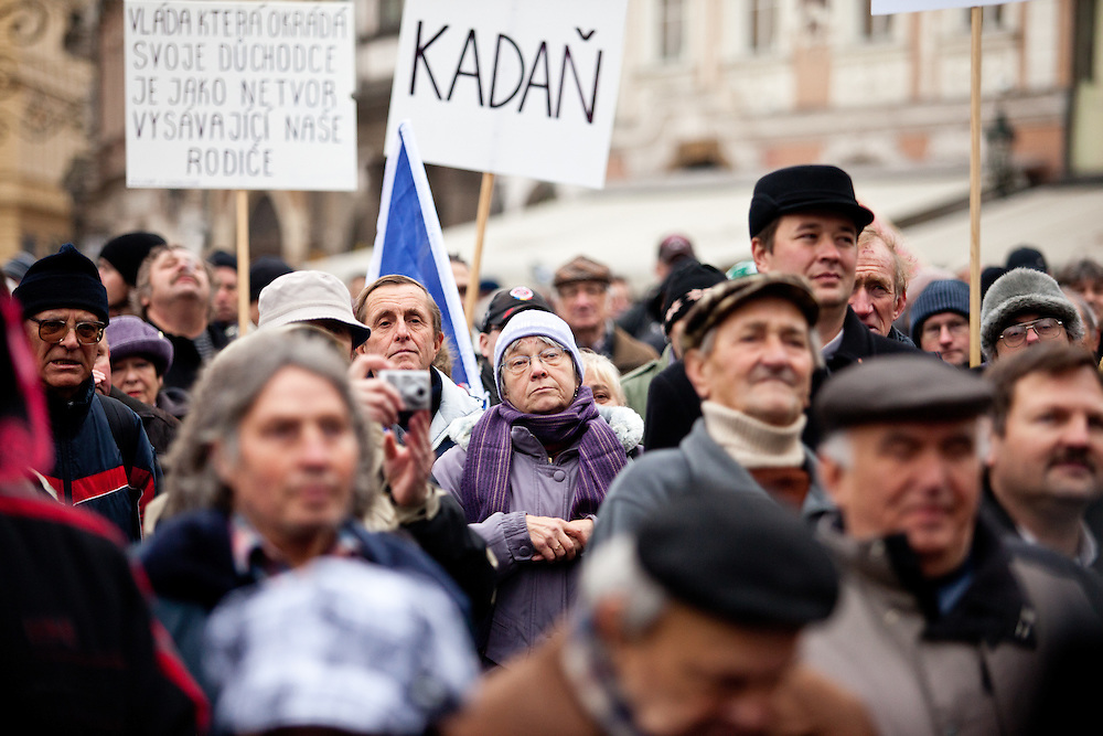 Protestors during a rally against the Czech government's social reforms and budget cuts at Old Town Square during the 17th of November 2011 -  the national holiday (Day of Struggle for Freedom and Democracy) in Prague.