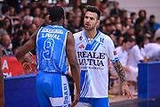 DESCRIZIONE : Trento Lega A 2014-15 Dolomiti Energia Trento Banco di Sardegna Sassari<br /> GIOCATORE : Lawal Shane Sacchetti<br /> CATEGORIA : pre game sguardi<br /> SQUADRA : Banco di Sardegna Sassari<br /> EVENTO : playoff gara 2 Lega A 2014-2015<br /> GARA : Dolomiti Energia Trento Banco di Sardegna Sassari<br /> DATA : 20/05/2015<br /> SPORT : Pallacanestro<br /> AUTORE : Agenzia Ciamillo-Castoria/M.Ozbot<br /> Galleria : Lega Basket A 2014-2015 <br /> Fotonotizia: Trento Lega A 2014-15 Dolomiti Energia Trento Banco di Sardegna Sassari