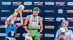 28.08.2016, Zell am See Kaprun, AUT, IRONMAN 70.3 Salzburg, im Bild zweiter Platz Stuart Hayes (GBR), Sieger Marino Vanhoenacker (BEL), dritter Platz Markus Thomschke (GER) // second place Stuart Hayes (GBR), winner Marino Vanhoenacker (BEL), third place Mark Thomschke (GER) during IRONMAN 70.3, Salzburg at Zell am See- Kaprun, Austria on 2016/08/28. EXPA Pictures © 2016, PhotoCredit: EXPA/ JFK
