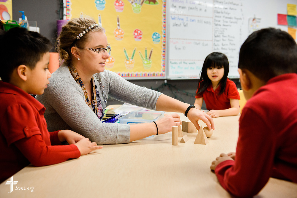 Kindergarten teacher Amanda Recore works with students at St. Martini Lutheran School on Tuesday, Nov. 14, 2017, in Milwaukee. LCMS Communications/Erik M. Lunsford
