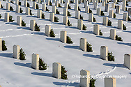 65095-03107 Wreaths on graves in winter Jefferson Barracks National Cemetery St. Louis,  MO