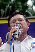 Opposition party vice-president Kem Sokha of the CNRP is giving a speech during an election campaign rally in Kampong Cham, Cambodia.