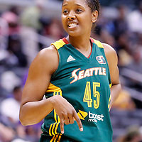 15 August 2014: Seattle Storm guard Noelle Quinn (45) rests during the Los Angeles Sparks 77-65 victory over the Seattle Storm, at the Staples Center, Los Angeles, California, USA.