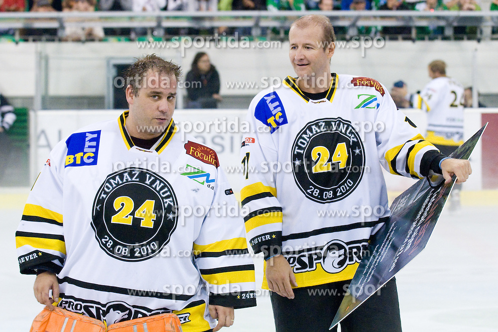 Goalie Luka Simsic and Nik Zupancic in Tomaz Vnuk's exhibition game between team HDD Tilia Olimpija and team 24 Ever on August 28, in Ljubljana, Slovenia. (Photo by Matic Klansek Velej / Sportida)