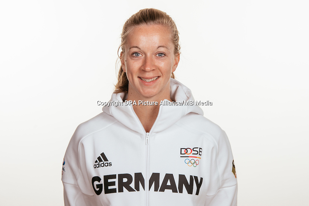 Franzisca Hauke poses at a photocall during the preparations for the Olympic Games in Rio at the Emmich Cambrai Barracks in Hanover, Germany, taken on 15/07/16 | usage worldwide