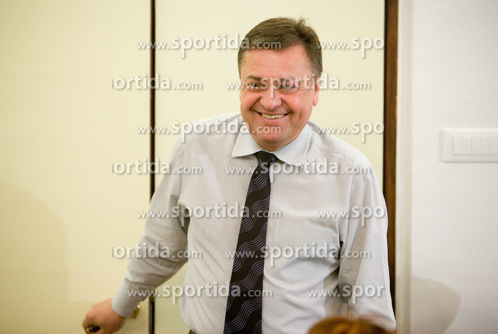 Zoran Jankovic, mayor of Ljubljana, at press conference when announced that Slovenian national basketball team will play first game in new arena Stozice against National team of Spain, on December 1, 2009,  in City hall, Ljubljana, Slovenia.   (Photo by Vid Ponikvar / Sportida)