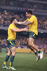 © Licensed to London News Pictures. 29/6/2013. Adam Ashley-Cooper and Christian Leali'iano celebrate after scoring a try during the British & Irish Lions 2nd test between Qantas Wallabies Vs British & Irish Lions at Etihad Stadium, Melbourne, Australia. Photo credit : Asanka Brendon Ratnayake/LNP