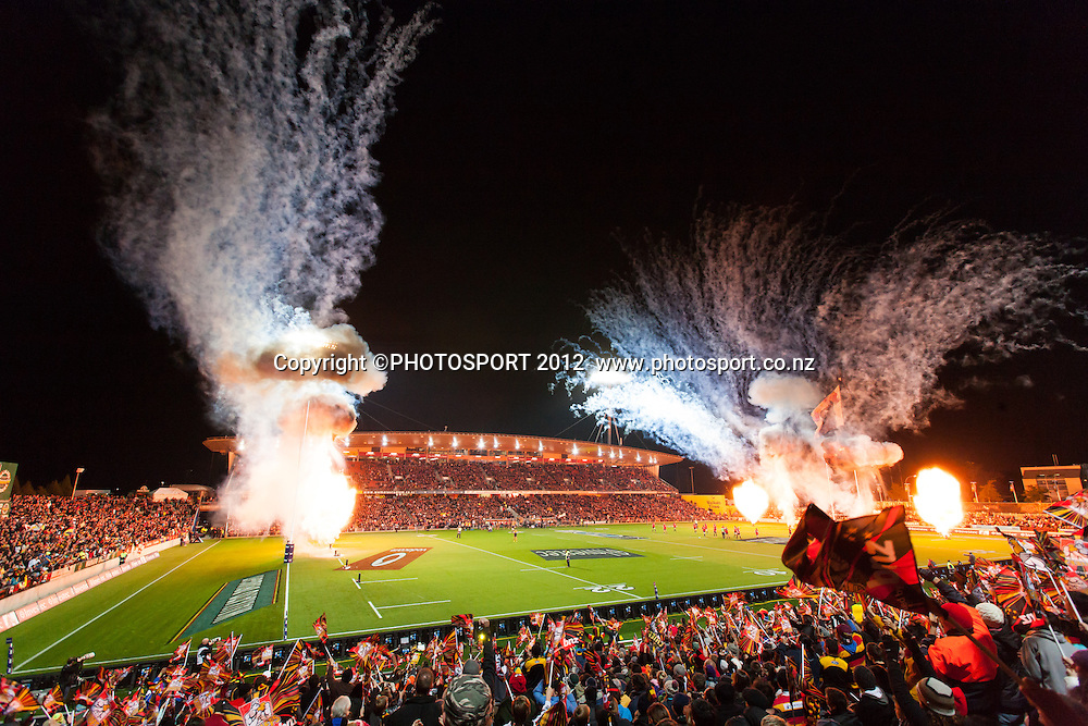 Fireworks explode before the start of the Super Rugby Semi Final won by the Chiefs (20-17) against the Crusaders at Waikato Stadium, Hamilton, New Zealand, Friday 27 July 2012. Photo: Stephen Barker/Photosport.co.nz