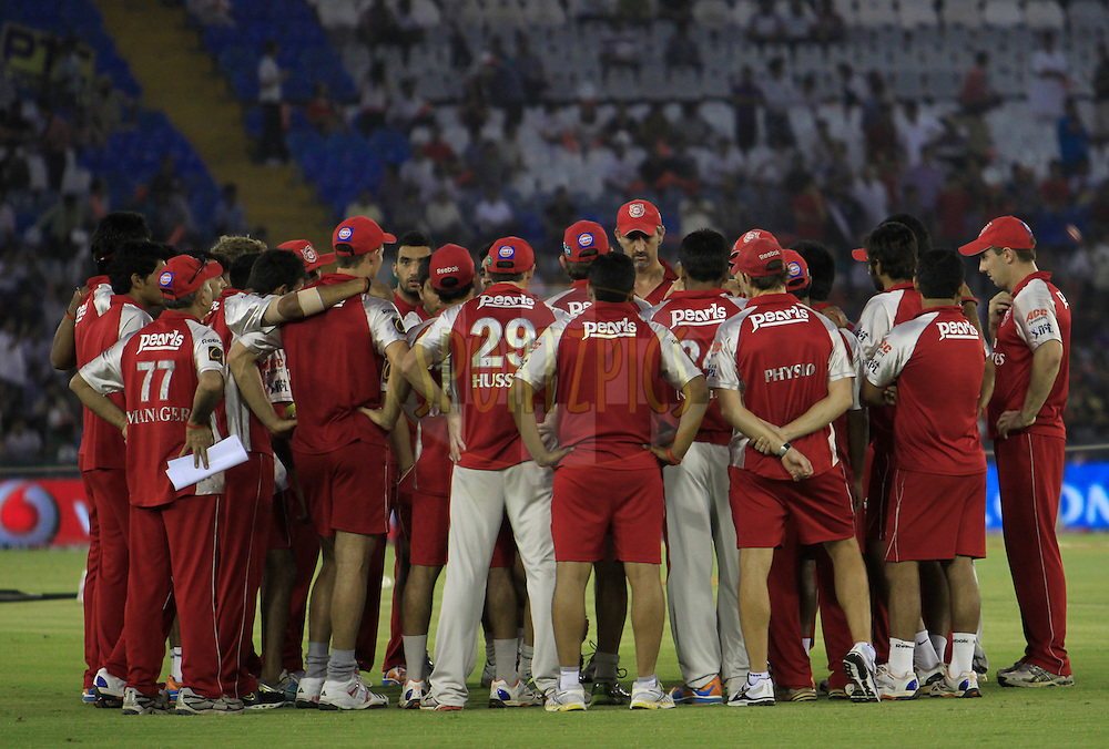 Kings XI Punjab players prior to the match 51 of the Indian Premier League ( IPL ) Season 4 between the Kings XI Punjab and the Pune Warriors India held at the PCA stadium in Mohali, Chandigarh, India on the 8th May 2011..Photo by Pankaj Nangia/BCCI/SPORTZPICS