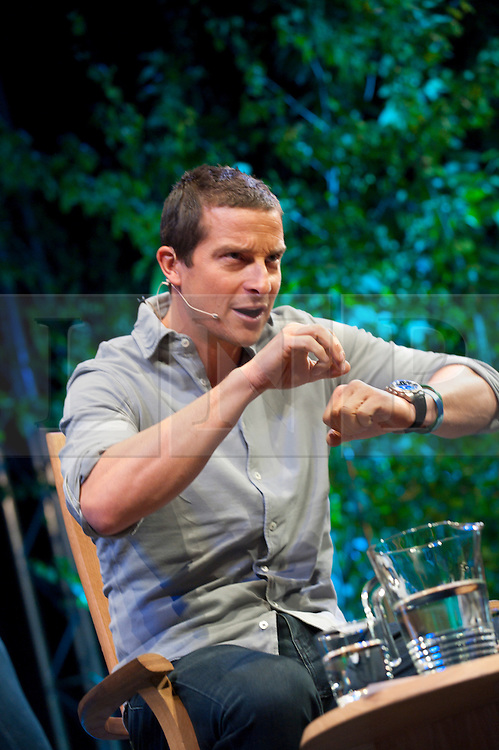© London News Pictures. 31/05/2015. Hay-on-Wye, Powys, Wales, UK. On the last day of the Hay Festival 2015, Bear Grylls  talks to Clemency Burton-Hill: The adventurer launches his thriller, in which his hero is sent deep into the Amazon jungle on the hunt for a WW2 secret. Grylls' recent non-fiction includes True Grit, Extreme Food and Your Life – Train For It. Photo credit : Graham M. Lawrence/LNP.