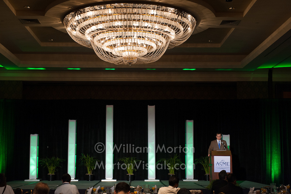 ASME introduces their General Session keynote speaker at the Manchester Grand Hyatt. Event photography by Dallas event photographer William Morton of Morton Visuals.