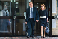© Licensed to London News Pictures. 29/07/2020. London, UK. Charlie Elphicke departs Southwark Crown Court with his wife Natalie Elphicke . The former MP for Dover faces three charges of sexual assault against two women .  Photo credit: George Cracknell Wright/LNP