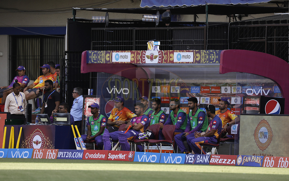 rising Pune Supergiant players in dugout during match 4 of the Vivo 2017 Indian Premier League between the Kings X1 Punjab and the rising Pune Supergiant held at the Holkar Cricket Stadium in Indore, India on the 8th April 2017<br /> <br /> Photo by Arjun Singh - IPL - Sportzpics