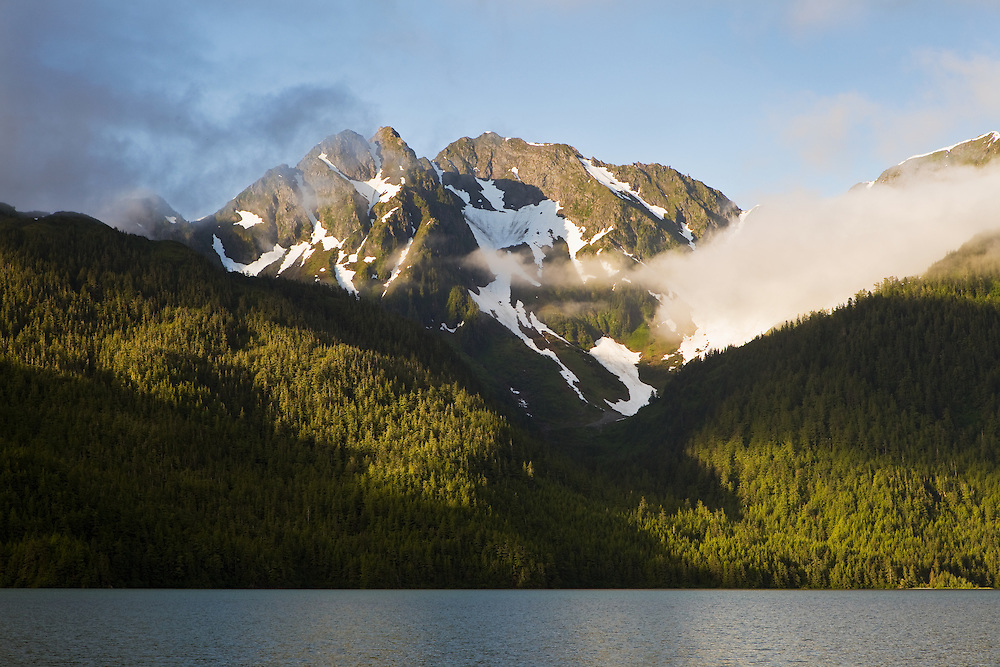 Eyak Lake and Queen's Chair mountain in evening light in the Chugach National Forest of Copper River Delta near Cordova in Southcentral Alaska. Summer.