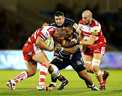 Yann Thomas of Gloucester Rugby is tackled by Halani Aulika of Sale Sharks - Mandatory by-line: Matt McNulty/JMP - 16/09/2016 - RUGBY - Heywood Road Stadium - Sale, England - Sale Sharks v Gloucester Rugby - Aviva Premiership