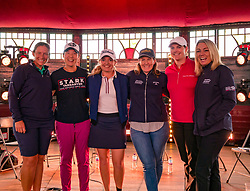 Pictured: Fringe by the Sea, North Berwick, East Lothian, Scotland, United Kingdom, 06 August 2019. Top professional female golfers competing in the Aberdeen Standard Investments Ladies Scottish Open this week appear on a panel and take questions from the audience , as part of a podcast called On the Dance Floor. Pictured: from L to R Angela Stanford (USA), Tiffany Joh (USA), Bronte Law (UK), Beth Allen (USA), Caroline Masson (Germany), sports broadcaster Emma Dodds.<br /> <br /> Sally Anderson | EdinburghElitemedia.co.uk