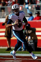 SANTA CLARA, CA - DECEMBER 17: Quarterback Marcus Mariota #8 of the Tennessee Titans warms up before the game against the San Francisco 49ers at Levi's Stadium on December 17, 2017 in Santa Clara, California.  (Photo by Jason O. Watson/Getty Images) *** Local Caption *** Marcus Mariota