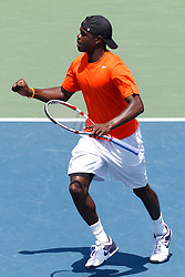 May 23, 2011; Stanford, CA, USA;  Jarmere Jenkins celebrates after a point during the semifinals of the men's team 2011 NCAA Tennis Championships against the Ohio State Buckeyes at the Taube Family Tennis Center.