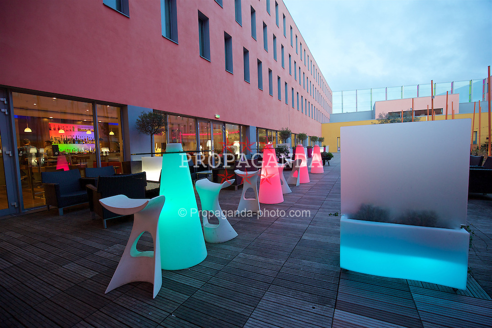 TOULOUSE, FRANCE - Monday, January 25, 2016: Outside courtyard at the Radisson Blu Hotel Toulouse Airport during a Wales inspection visit ahead of the UEFA Euro 2016 Tournament. (Pic by David Rawcliffe/Propaganda)