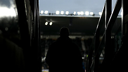 A fan makes their way out before kick-off