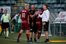 (L-R) Lex Immers of ADO Den Haag, coach Alfons Fons Groenendijk of ADO Den Haag during the Pre-season Friendly match between ADO Den Haag and Panathinaikos at the Cars Jeans Stadium on July 28, 2018 in The Hague, The Netherlands