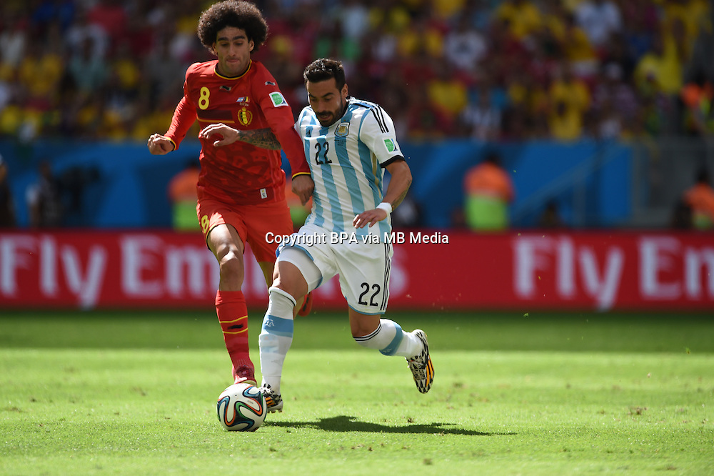 Ezequiel Lavezzi and Marouane Fellaini. Argentina v Belgium, quarter-final. FIFA World Cup 2014 Brazil. National stadium, Brasilia. 05 July 2014