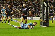 Pete Horne scores try during the 1872 Challenge Cup, Guinness Pro 14 2018_19 match between Edinburgh Rugby and Glasgow Warriors at BT Murrayfield Stadium, Edinburgh, Scotland on 22 December 2018.