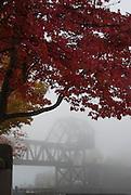 Fog along the Lake Washington Ship Canal. Ballard Railroad Trestle at West end of Chittenden lock.