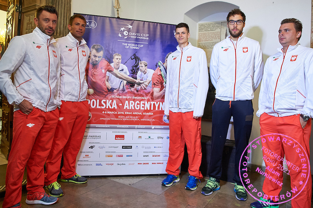 GDANSK, POLAND - 2016 MARCH 03: (L-R) Michal Przysiezny and Lukasz Kubot and Hubert Hurkacz and Jerzy Janowicz and Marcin Matkowski all from Poland pose to team picture before press conference one day before the Davies Cup / World Group 1st round tennis match between Poland and Argentina at Ergo Arena on March 3, 2016 in Gdansk, Poland<br /> <br /> Picture also available in RAW (NEF) or TIFF format on special request.<br /> <br /> Any editorial, commercial or promotional use requires written permission.<br /> <br /> Mandatory credit:<br /> Photo by &copy; Adam Nurkiewicz / Mediasport