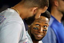 April 29, 2018 - Toronto, ON, U.S. - TORONTO, ON - APRIL 29: Texas Rangers Infield Jurickson Profar (19) talks to a teammate in the Texas dugout during the MLB game between the Texas Rangers and the Toronto Blue Jays on April 29, 2018 at Rogers Centre in Toronto, ON. (Photo by Jeff Chevrier/Icon Sportswire) (Credit Image: © Jeff Chevrier/Icon SMI via ZUMA Press)
