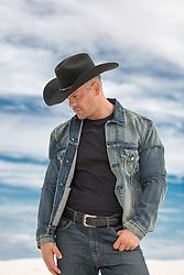All American cowboy in a denim jacket
