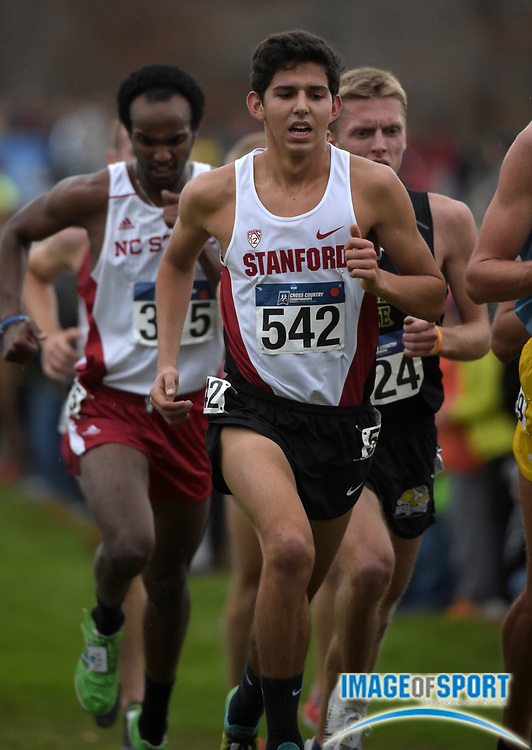 Nov 21, 2015; Louisville, KY, USA; Grant Fisher of Stanford places 17th in 30:07 during the 2015 NCAA cross country championships at Tom Sawyer Park.