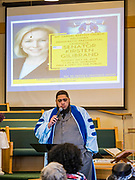 26 MAY 2019 - WATERLOO, IOWA: Rev. Dr. FRANTZ WHITFIELD, Frantz introduces US Senator Kirsten Gillibrand at Mt. Carmel Missionary Baptist Church in Waterloo. Sen. Gillibrand is on her 5th trip to Iowa this week to support her candidacy to be the Democratic nominee for the US Presidency. Iowa traditionally hosts the the first selection event of the presidential election cycle. The Iowa Caucuses will be on Feb. 3, 2020. Mt. Carmel Missionary Baptist Church was established in 1921 and is the third oldest African-American church in Waterloo. Waterloo has the largest African-American community in Iowa.             PHOTO BY JACK KURTZ