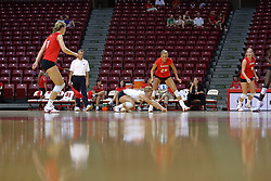 16 AUG 2008: Amy Olson scrubs the floor to dig out a serve during the annual Red-White intra-squad scrimmage at Redbird Arena on the campus of Illinois State University in Normal Illinois.