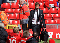 LIVERPOOL, ENGLAND - Sunday, April 10, 2016: Liverpool's manager Jürgen Klopp arrives before the Premier League match against Stoke City at Anfield. (Pic by David Rawcliffe/Propaganda)
