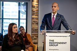 © Licensed to London News Pictures. 18/02/2019. London, UK. Former Labour MP Chuka Umunna (R) speaks at an event in Westminster, London, next to Luciana Berger (R). A group of seven former Labour MPs announced the formation a new political party, The Independent Group, formed by breakaway Labour MPs who disagree with Labour Party action on Brexit and Antisemitism. Photo credit: Rob Pinney/LNP